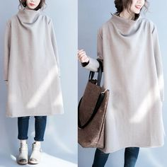 Women cotton loose long sleeve winter top - Tkdress  - 1: