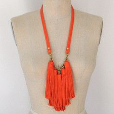 Leather Tassel Necklace Poppy by Three Horses