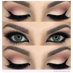 Gorgeous nude and black eye makeup for green eyes ❤ liked on Polyvore featuring beauty products, makeup and eye makeup #weddingmakeup