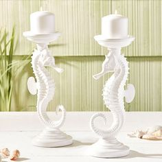Large White Seahorse Candlestick