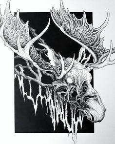 """The moose of Hiisi"" Ink on paper x In finnish folklore the Hiisi (evil demonic creature from forest) formed a fake moose from the… Cow Skull Tattoos, Zombie Tattoos, Deer Tattoo, Deer Skulls, Black Skulls, Skull Face, Human Skull, Skull Bracelet, Skull Jewelry"