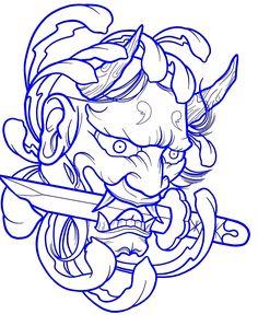 tattoo tattoo idea # 94871 shared by Cristina Red Ink Tattoos, Body Art Tattoos, Sleeve Tattoos, Samurai Mask Tattoo, Hannya Mask Tattoo, Mascara Hannya, Japanese Demon Tattoo, Bleach Tattoo, Japanese Mask