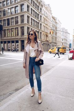 bedeab1b57 STREET STYLE  blush silk duster coat with blue jeans