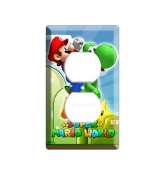 Super Mario riding green yoshi electrical power outlet cover wall plate children gamer boys video game