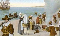 Pilgrims Washing Day, 1620 Photograph by Granger - Pilgrims Washing . Pilgrim Clothing, Pilgrim Fathers, Framed Artwork, Wall Art, Virtual Field Trips, Ellis Island, Art Studies, Social Studies, Find Art