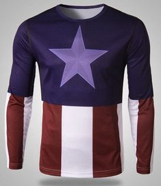 Stylish Round Neck Captain America Print Splicing Slimming Long Sleeve Quick-Dry T-Shirt For Men Super Hero Outfits, Super Hero Costumes, Cool Outfits, Printed Sweatshirts, Mens Sweatshirts, Mens Tees, Men Shirts, Long Sleeve, Shopping