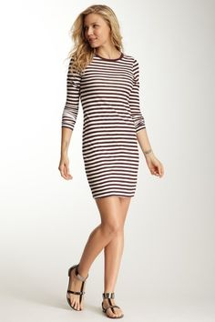 Joe's Jeans Marion Bordeaux Stripe Cotton Mini Dress