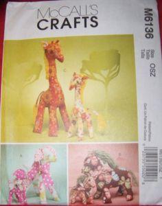 stuffed gifaffe pattern | McCall 6136 Retro Stuffed Giraffe, Lamb, Horse Pattern, in two sizes ...