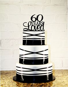 60th Birthday Cake Topper 60 Years Loved by CakeTopperMonograms
