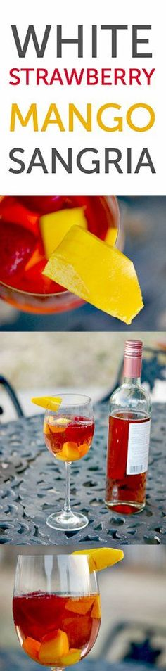 It's mango season! Strawberry mango sangria made with white or pink moscato for a light, refreshing drink Easy Drink Recipes, Sangria Recipes, Cocktail Recipes, Cooking Recipes, Dinner Recipes, Healthy Recipes, Delicious Recipes, Free Recipes, Soup Recipes