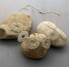 Pure silver Necklace, Wire crochet circles, Statement necklace. $55.00, via Etsy.