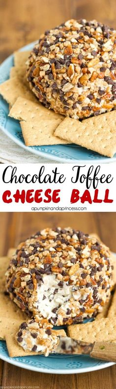 Chocolate Toffee Cheese Ball- warning, this dessert is totally addicting! @crystalowens