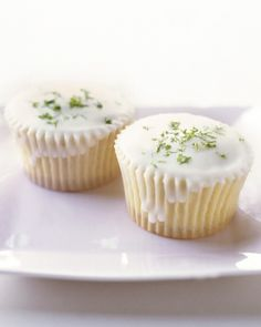 Triple-Citrus Cupcakes - Lemon, orange, and lime zests are mixed into the batter of these refreshing cupcakes and also get sprinkled over the glaze just before it sets.