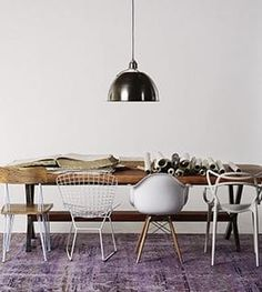 50 Best Modern Dining Room Design Ideas - Home Decorating Inspiration Woven Dining Chairs, Mismatched Dining Chairs, Dining Room Chairs, Eclectic Dining Chairs, Dining Decor, Eames Chairs, Desk Chairs, Folding Chairs, Office Chairs