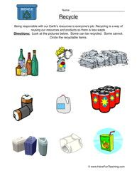 Recycling Worksheet 1 Recycling Sort Worksheets Earth science