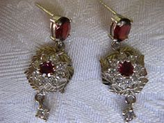 27.15 CT.(GEMS+SETTING)Natural Garnet WGPlate Sterling 925 Silver Drop Earrings  #Handmade #DropDangle