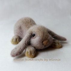 Floppy ears bunny Needle felted handmade wool by FunFeltByWinnie