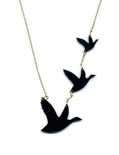 Acrylic/perspex birds necklace