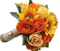 But i want real flower!Silk Bridal Wedding Bouquet Sunflowers Yellow by blueeyesbridal, $75.00
