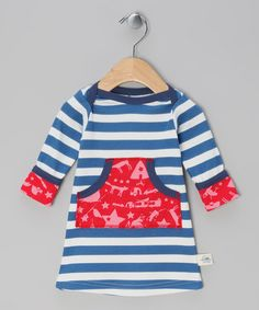 Take a look at this Blue Deep Pocket Judy Dress - Infant by Little Shrimp on #zulily today!