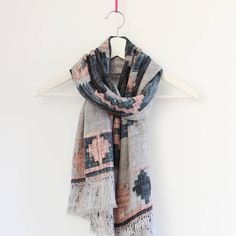 Distressed Aztec Patterned Scarf