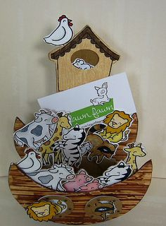 Lawn Fawn - Critters in the Forest, Critters on the Farm, Critters on the Savanna _ adorable Noah's Ark business card holder filled Lawn Fawn Critters by Donna | Flickr - Photo Sharing!