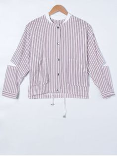 GET $50 NOW | Join RoseGal: Get YOUR $50 NOW!http://www.rosegal.com/jackets/ripped-long-sleeve-striped-jacket-653644.html?seid=4021664rg653644