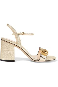 dd655c4b4 Gucci - Marmont Embellished Cracked-leather Sandals - Gold Mid Heel Sandals,  Gold Sandals