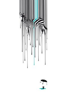 Raining zebra Art Print at Society6  by Måns Wikström