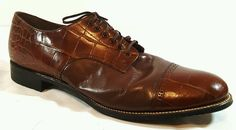 Stacy Adams Biscuit Toe Shoes Brown Leather Madison Cap Toe Size 14 #StacyAdams #OxfordsMadison #Formal