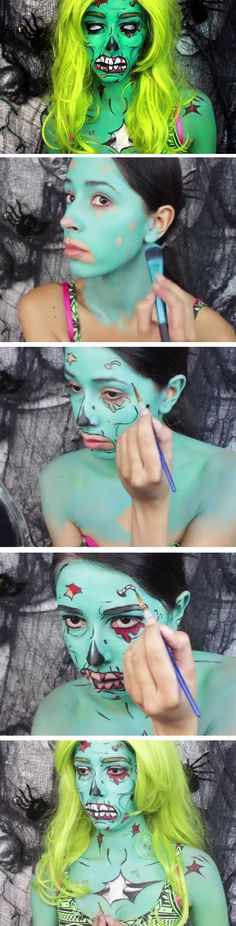 Pop Art Zombie | Click Pic for 26 DIY Halloween Makeup Ideas for Women | DIY Halloween Dress Up Ideas for Adults