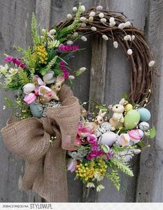 LOVE this wreath. That burlap bow would not show up on my front door, maybe yellow?