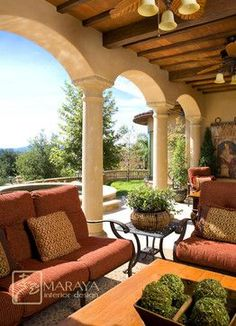 Italian Tuscan style patio, back porch design ideas and home decor