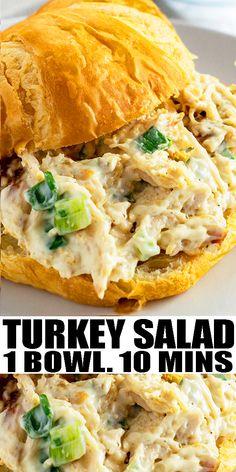 Best Salad Recipes, Lunch Recipes, Easy Dinner Recipes, Breakfast Recipes, Healthy Recipes, Smoked Turkey Salad Recipe, Turkey Salad Sandwich, Thanksgiving Turkey, Thanksgiving Salad