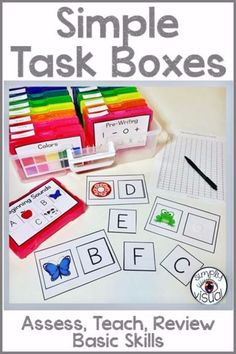 Assess your students on basic skills using these task boxes and data sheets Life Skills Classroom, Autism Classroom, New Classroom, Special Education Classroom, Kindergarten Classroom, Classroom Setup, Early Finishers Kindergarten, Special Education Activities, Numbers Kindergarten
