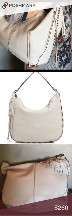 "Rebecca Minkoff Hobo NWT Beautiful Rebecca Minkoff Hobo in stone beige! Gorgeously soft leather, black luxe chain, fun whipstitch detailing, and tassel. Zip closure, inside pocket. Measures 16"" w x 13"" h. Rebecca Minkoff Bags Hobos"