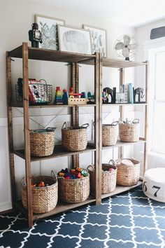 Organizing Playroom Toys - Within the Grove - Organizing Playroom Toys Playroom Design, Playroom Decor, Playroom Ideas, Playroom Shelves, Kid Decor, Ikea Shelves, Kids Playroom Storage, Living Room Playroom, Childrens Toy Storage
