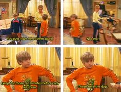 The Suite Life of Zack and Cody. I alway thought cody was older Zack Et Cody, Zack And Cody Funny, Old Disney Shows, Sprouse Bros, Dylan Sprouse, Old Disney Channel, Haha, Suite Life, Old Tv Shows