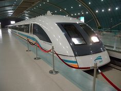 Maglev Train in Shanghai, China.  This levitates on magnet . Thus maglev train. Very smooth ride. Super fast