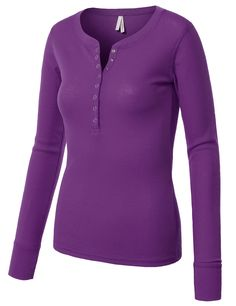 LE3NO Womens Fitted Round Neck Long Sleeve Henley Thermal Shirt