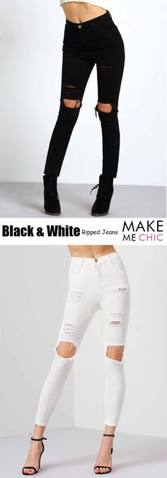 Sport a moto chic glammed up look in these Mid-rise Distressed Skinny Jeans! These edgy jeans feature bold distressed details and a mid-rise fit. Finish off the look with a cheeky cropped tee and your favorite sneakers.
