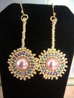 Seed Bead Earrings Venus Rising Beadwork Earrings by WorkofHeart, $18.00
