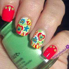 #LillyPulitzer inspired #nail art IG @lovepurplepolish