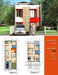 Desain Rumah 2 Lantai  Desain Rumah Lebar 7 meter  Desain Rumah 5 kamar tidur  Desain Rumah Type 163