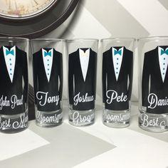 Groomsman Gift, Groomsman Proposal, Wedding party, Wedding party gifts, groomsman duties Personalized Shot Glasses with Tuxes Groom by NerdyGiirlCouture