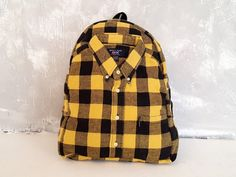 Recycled backpack yellow Upcycled shirt rucksack by YouNeedEco