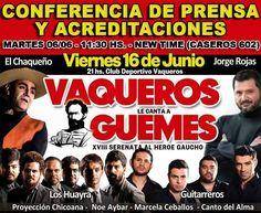 """Conferencia de prensa y acreditaciones. """"Vaqueros le canta a Güemes""""  Mar 6/Jun - 11.30 hs. New Time - Caseros 602 Toda la info que necesitas la podes encontrar aquí  http://quehacemossalta.com/"""