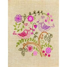 Hand Embroidery Kit Birdies in love Decorative stitch Needlepoint Needlework Stitching DIY Instructions in Russian Diy Embroidery Designs, Hand Embroidery Kits, Beaded Embroidery, Cross Stitch Embroidery, Embroidery Patterns, Beaded Cross Stitch, Cross Stitch Kits, Cross Stitch Patterns, Tapestry Kits