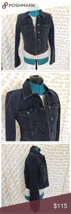 Joe's Jeans Denim Jacket Washed Black Jenny Premium denim jacket featuring light abrasions, detailed distressing for vintage appeal. Boxy fit denim jacket. Point collar. Button front closure. Structured seaming. Dual chest pockets with button-flap closures, side pockets with double lining making an extra hidden pocket ideally for cell phone. Long sleeves with dropped shoulder seams and button cuffs. Straight hemline hits at the hip. Brand new with tags. Joe's Jeans Jackets & Coats Jean…