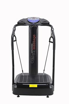 UPGRADED 2017 3900 WATT CRAZY FIT MASSAGE VIBRATION PLATE BUILT IN SPEAKERS WITH SILENT DRIVE MOTOR IN LIMITED EDITION BLACK WITH 2 FREE CORDS AND FREE EXERCISE POSTER CRAZY VIBRATIONS